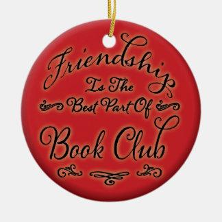 Ornamento de la amistad del círculo de lectores adorno navideño redondo de cerámica