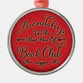 Ornamento de la amistad del círculo de lectores adorno redondo plateado