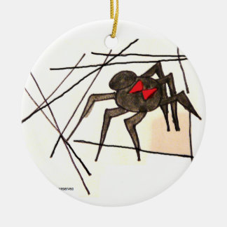 Ornamento de la araña de la viuda negra adorno redondo de cerámica