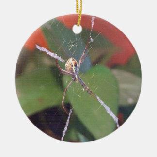 Ornamento de la araña del orbe adorno navideño redondo de cerámica