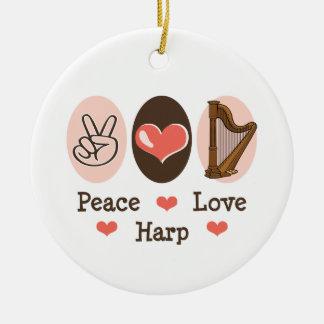 Ornamento de la arpa del amor de la paz ornamentos de reyes magos