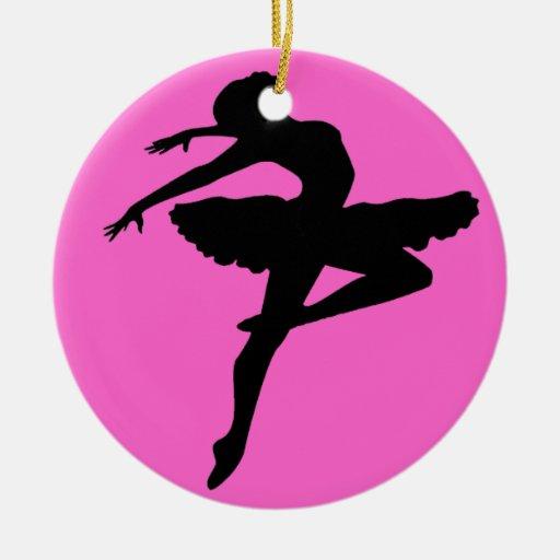 Ornamento de la bailarina adorno navideño redondo de cerámica