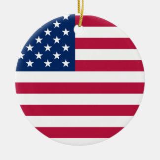 Ornamento de la bandera americana adorno navideño redondo de cerámica