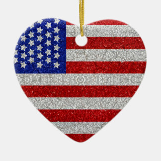 Ornamento de la bandera americana del vintage adorno navideño de cerámica en forma de corazón