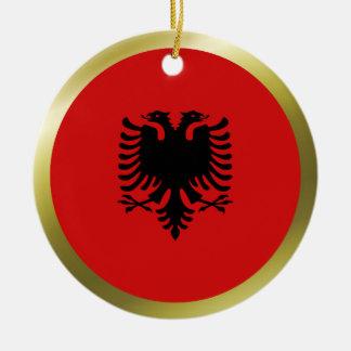 Ornamento de la bandera de Albania Adorno Navideño Redondo De Cerámica