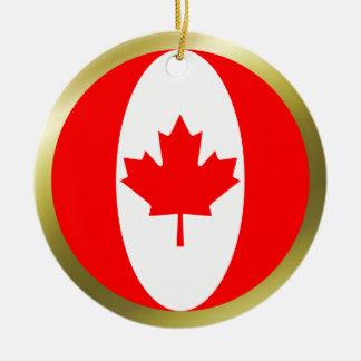 Ornamento de la bandera de Canadá Adorno Navideño Redondo De Cerámica