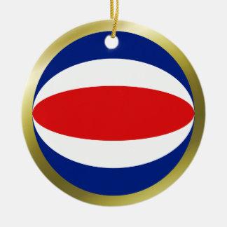 Ornamento de la bandera de Costa Rica Adorno Navideño Redondo De Cerámica