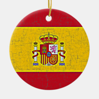 Ornamento de la BANDERA de ESPAÑA Adorno Navideño Redondo De Cerámica