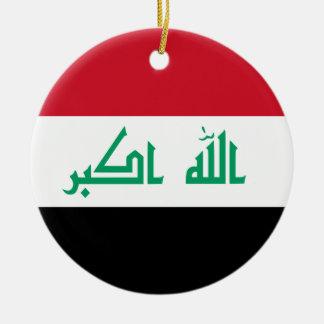 Ornamento de la bandera de Iraq Adorno Navideño Redondo De Cerámica