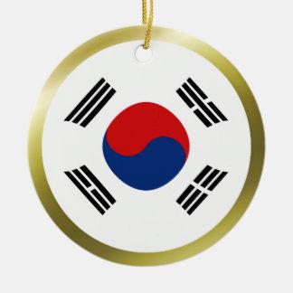 Ornamento de la bandera de la Corea del Sur Adorno Navideño Redondo De Cerámica