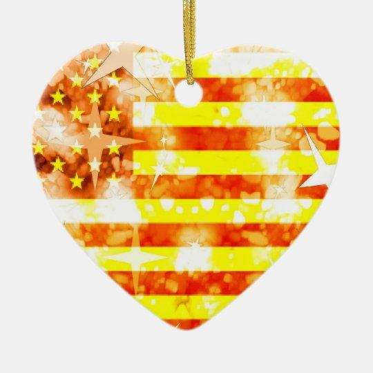 Ornamento de la bandera de los E.E.U.U. Adorno Navideño De Cerámica En Forma De Corazón