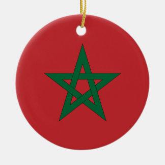 Ornamento de la bandera de Marruecos Adorno Redondo De Cerámica