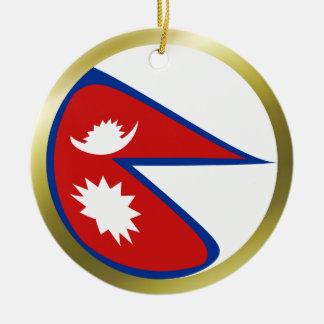 Ornamento de la bandera de Nepal Adorno Navideño Redondo De Cerámica