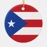 Ornamento de la bandera de Puerto Rico Adorno Navideño Redondo De Cerámica