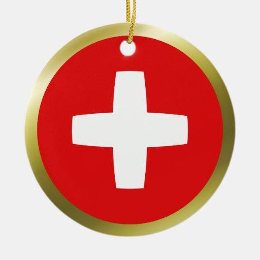 Ornamento de la bandera de Suiza Adorno Navideño Redondo De Cerámica