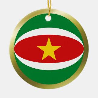 Ornamento de la bandera de Suriname Ornaments Para Arbol De Navidad