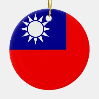 Ornamento de la bandera de Taiwán Adorno Navideño Redondo De Cerámica