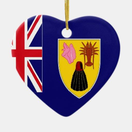 Ornamento de la bandera de Turks and Caicos Adorno Navideño De Cerámica En Forma De Corazón