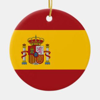 Ornamento de la bandera nacional de España Adorno Navideño Redondo De Cerámica
