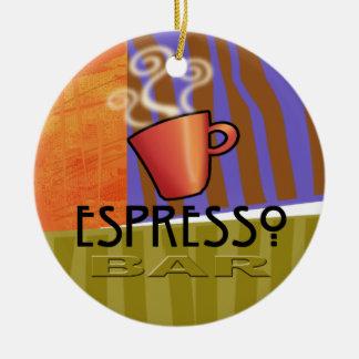 Ornamento de la barra del café express adorno redondo de cerámica