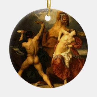 Ornamento de la batalla adorno navideño redondo de cerámica