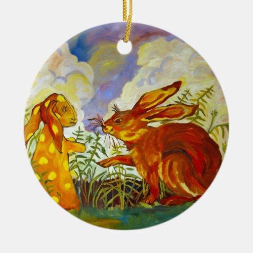 Ornamento de la bella arte de los amigos del adorno navideño redondo de cerámica