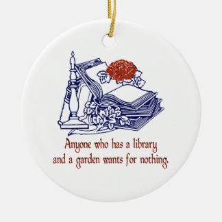 Ornamento de la biblioteca y del jardín ornamentos de navidad