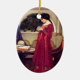Ornamento de la bola de cristal adorno navideño ovalado de cerámica