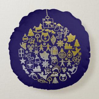 Ornamento de la bola del árbol de navidad + sus cojín redondo