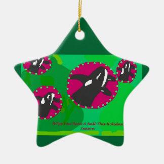 Ornamento de la bola del ornamento de la orca adorno navideño de cerámica en forma de estrella