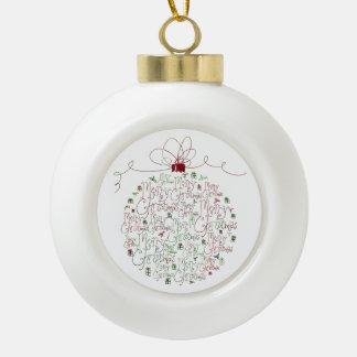 Ornamento de la bola del ornamento del navidad adorno de cerámica en forma de bola