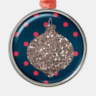 Ornamento de la bola del ornamento del navidad adorno redondo plateado