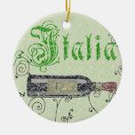 Ornamento de la botella de vino de Italia Adorno Navideño Redondo De Cerámica
