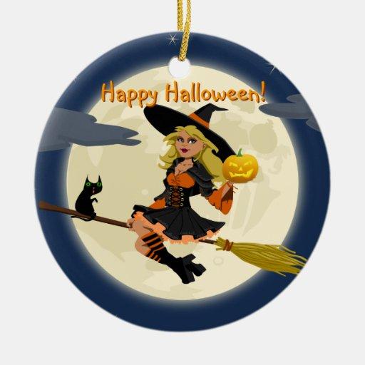 Ornamento de la bruja del feliz Halloween Ornamento De Navidad