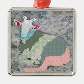 Ornamento de la cabra de los remiendos adorno navideño cuadrado de metal