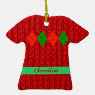 Ornamento de la camisa del suéter de Argyle del na Adornos