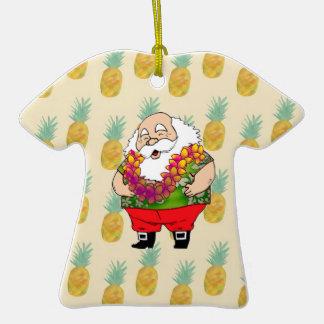 Ornamento de la camisa hawaiana de Papá Noel Adorno De Cerámica En Forma De Playera