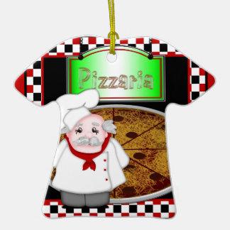 Ornamento de la camiseta de Italiano del cocinero Adorno Navideño De Cerámica En Forma De Playera