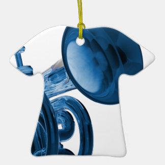 Ornamento de la camiseta de la trompeta adorno navideño de cerámica en forma de playera