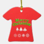Ornamento de la camiseta de las Felices Navidad Ornamento De Navidad