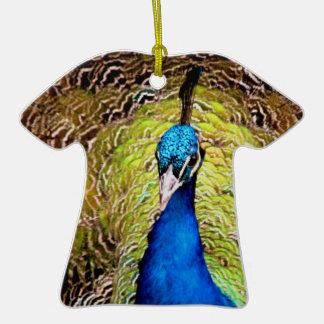Ornamento de la camiseta del pavo real adorno de cerámica en forma de playera