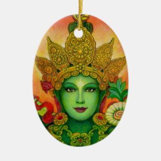 Ornamento de la cara de Tara verde de la diosa Adornos De Navidad