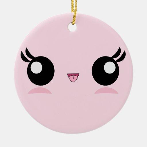 Ornamento de la cara del bebé de Kawaii Adorno Navideño Redondo De Cerámica