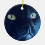 Ornamento de la cara del gato negro ornato
