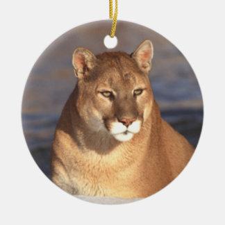 Ornamento de la cara del puma adorno de navidad