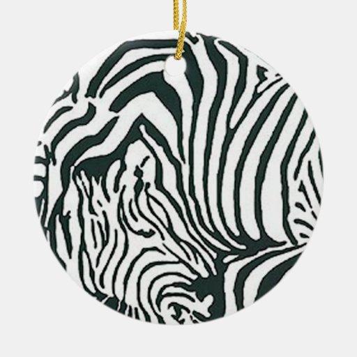 Ornamento de la cebra adorno navideño redondo de cerámica