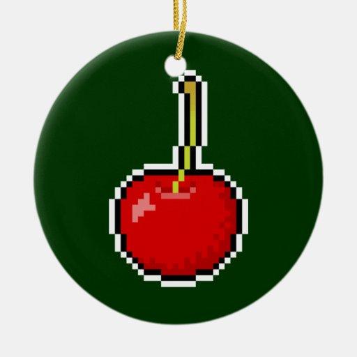 Ornamento de la cereza del arte del pixel adorno navideño redondo de cerámica
