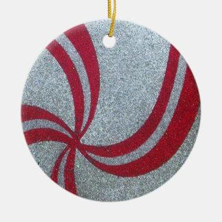 Ornamento de la chispa del remolino de la adorno navideño redondo de cerámica
