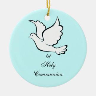 Ornamento de la comunión santa adorno navideño redondo de cerámica