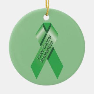 Ornamento de la conciencia del cáncer de hígado adorno navideño redondo de cerámica